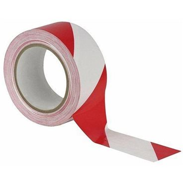 Vloermarkering Tape Rood/Wit 33 mtr. x 50 mm