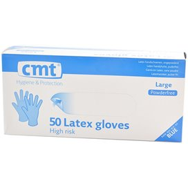 CMT High Risk Latex Gloves Blue Powder-free 50 pieces